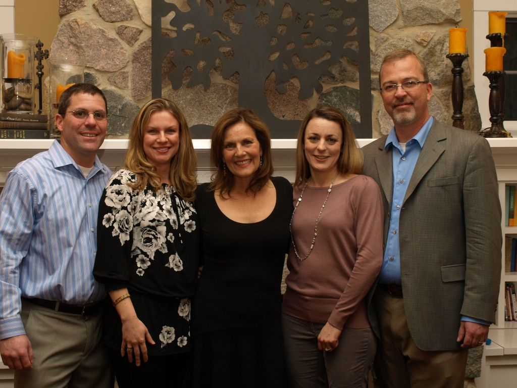 Parents Mike and Liz Pribaz, Sara James Butcher, Scotty Sims and Jim Johnson connecting at the 2014 JPF donor dinner